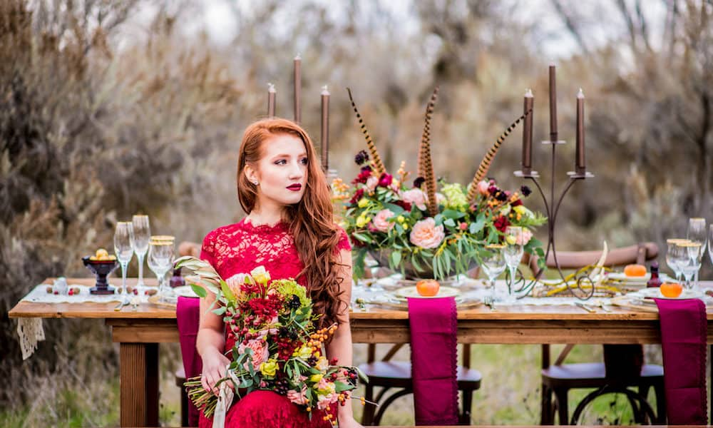 Deep Red Bohemian Wedding Inspiration in Oregon