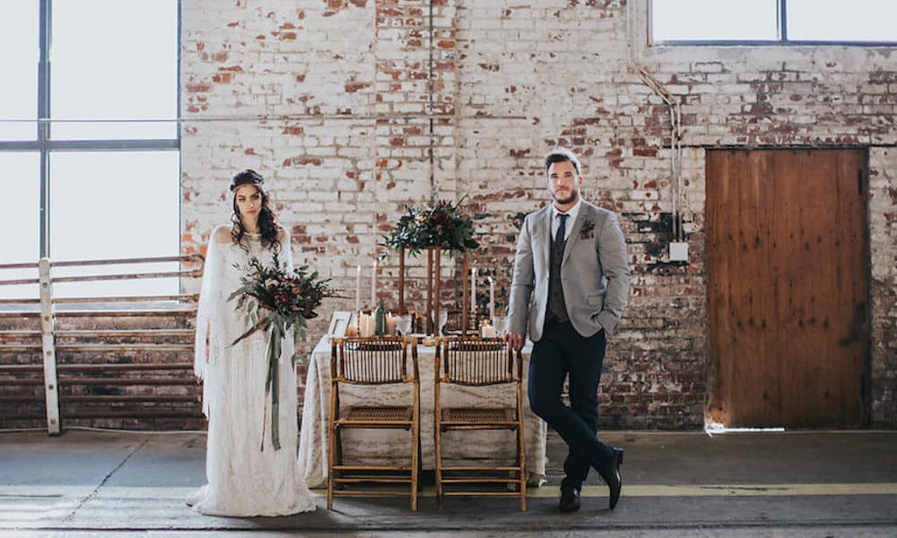 Bohemian Feather-Infused Warehouse Wedding Inspiration