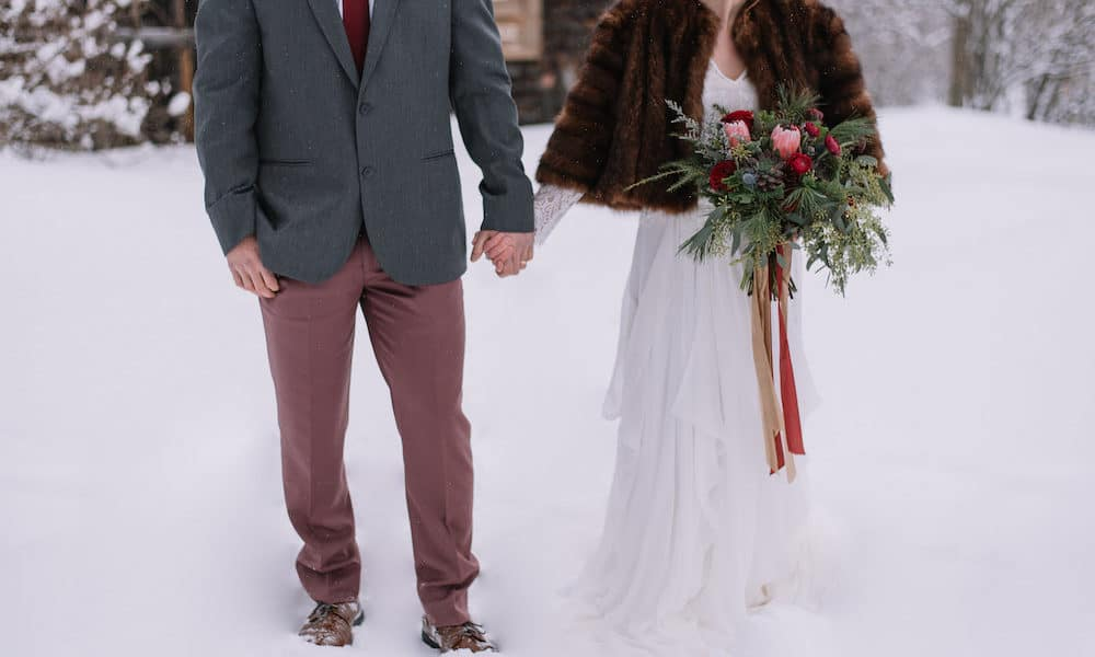 Romantic Snowy Winter Styled Shoot with a Moody Color Palette