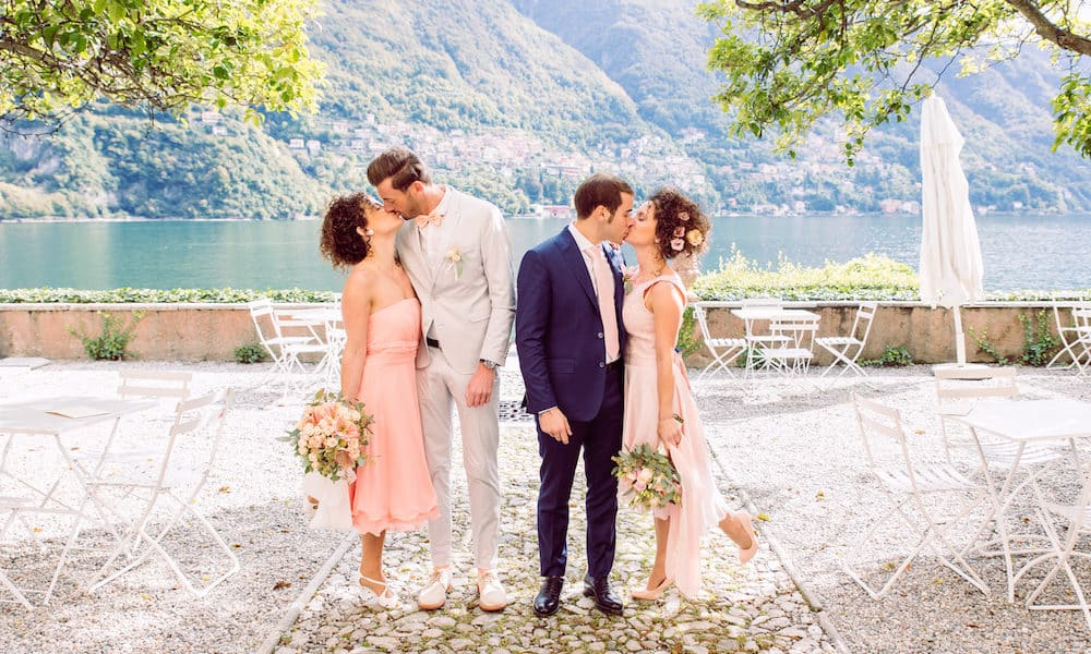 Twin Sisters' Pretty in Pink Double Wedding at Lake Como