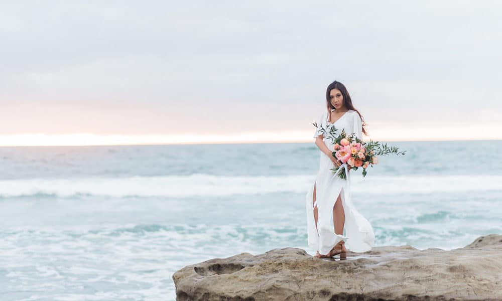 Romantic Bridal Shoot on the Beaches of La Jolla