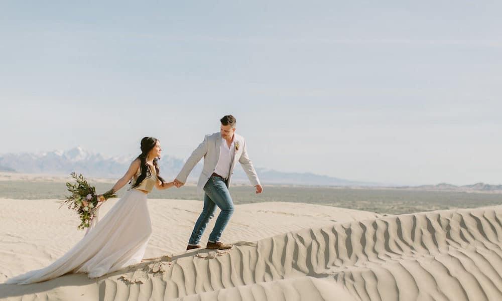 Dreamy and Adventurous Desert Elopement in the Little Sahara Sand Dunes
