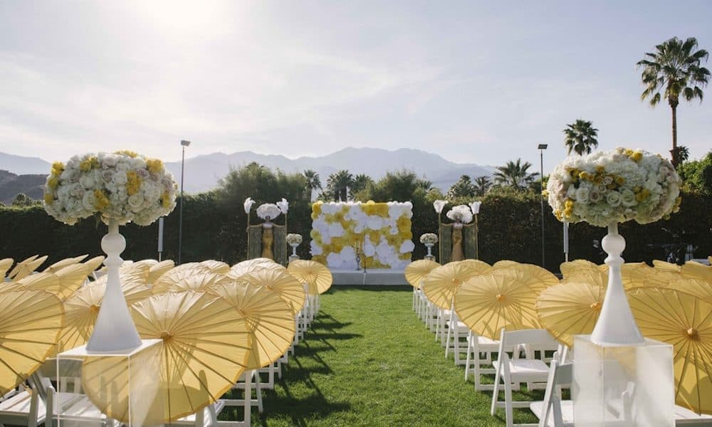 Glamorous White and Yellow Wedding at The Parker Palm Springs: Pjetur & Dimitri