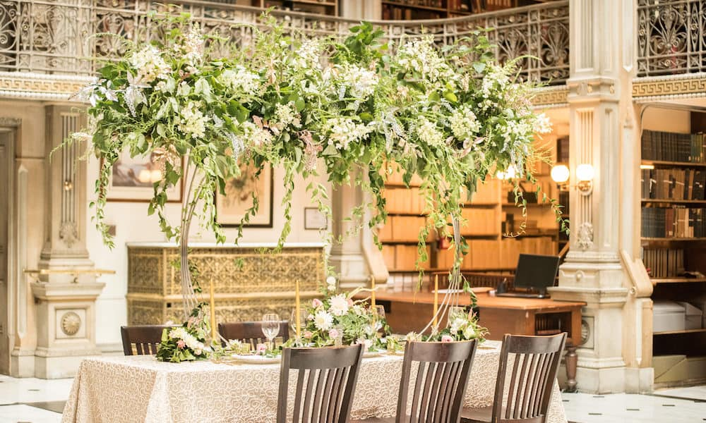 Elegant and Modern Golden Styled Shoot at The George Peabody Library