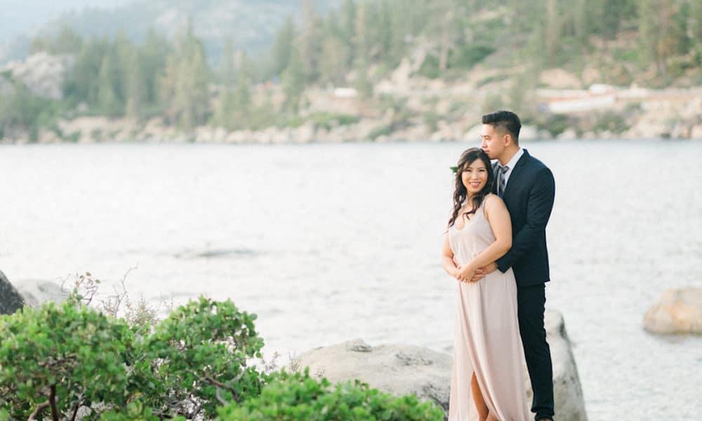 Romantic Elopement at Sunset in Lake Tahoe