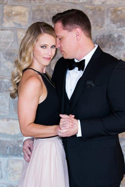 blush and black tie engagement