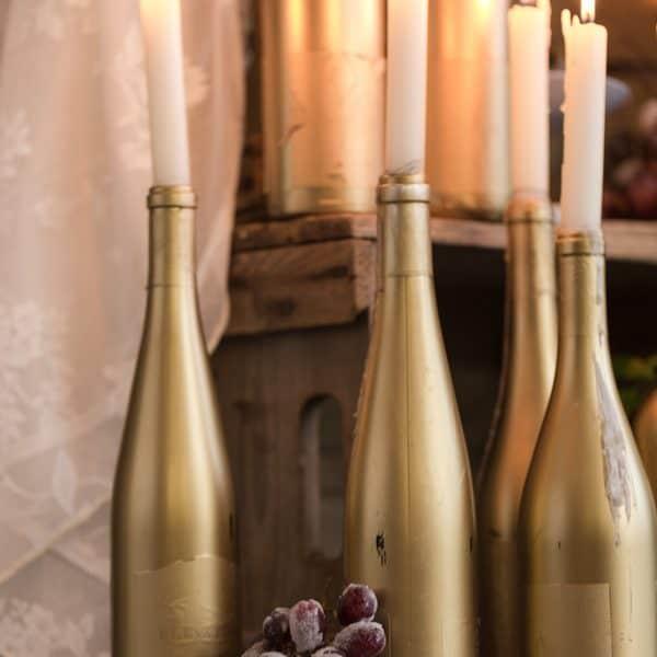 Wine Bottle Candle Sticks
