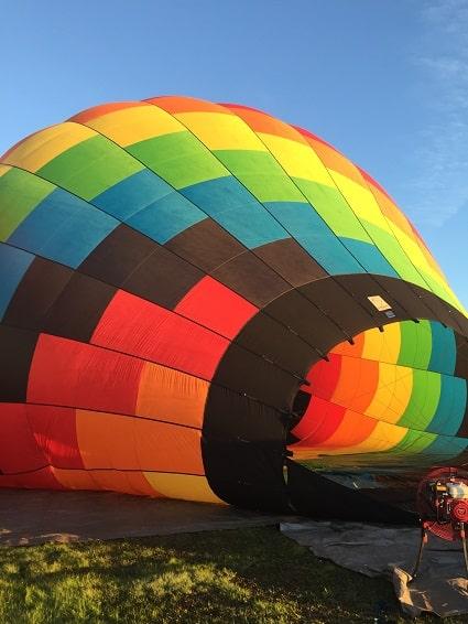 Rainbow colored hot air balloon