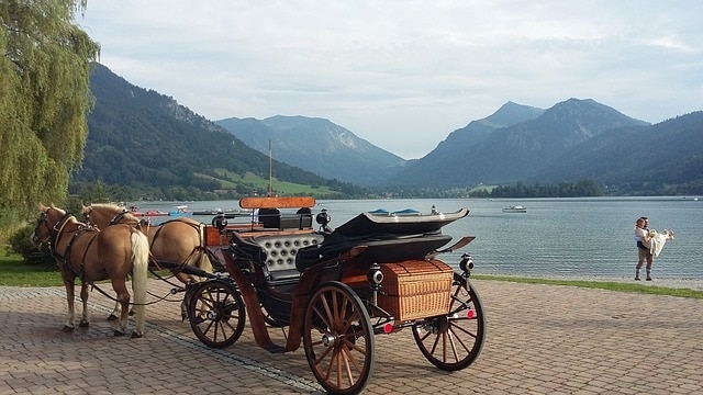Traditional horse drawn carriage parked with a gorgeous lake, mountains and married couples in the background.