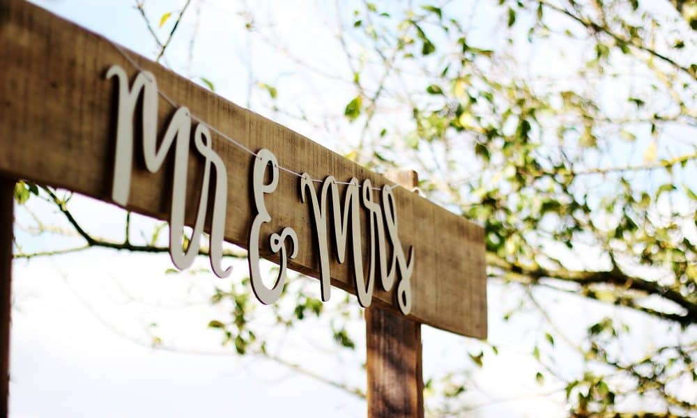 Mr and Mrs Paper Sign