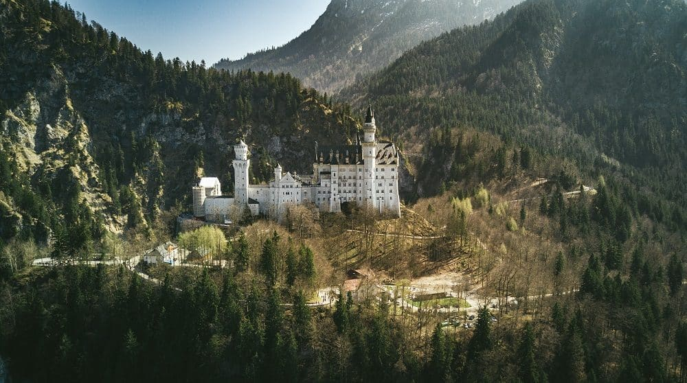 Beautiful castle in a mountainous valley surrounded by trees.