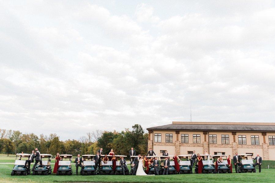Golf buggy wedding shot
