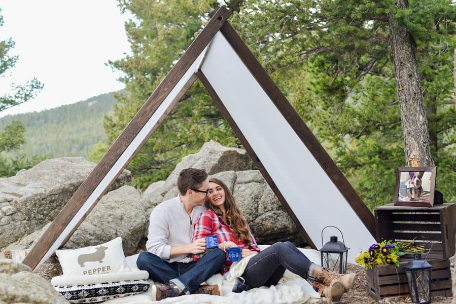 Camping + Corgi Inspired Engagement Shoot