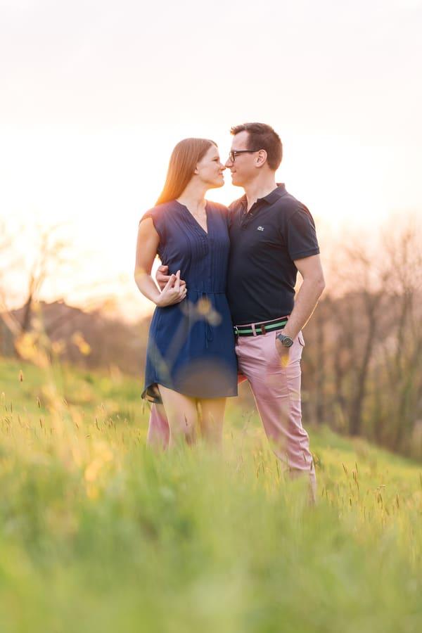 Romantic Sun Set Engagement Shot