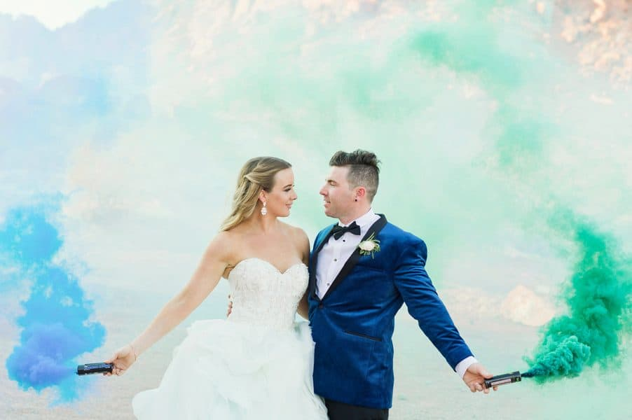 Metallic Desert and Smoke Bomb Delight Destination Wedding