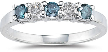 blue and white engagement ring