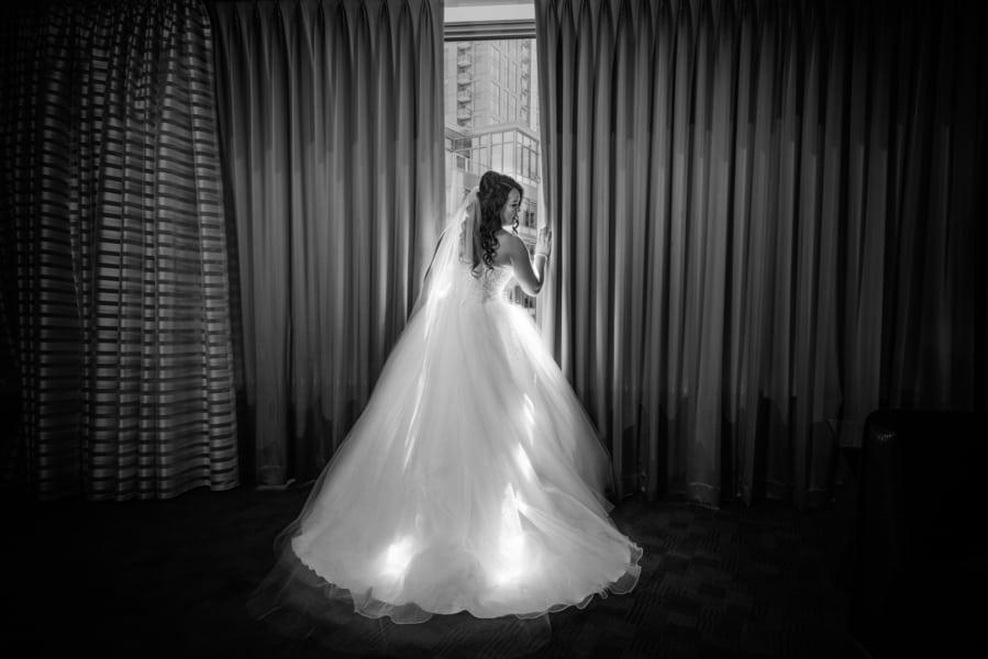 dramatic bridal getting ready shot