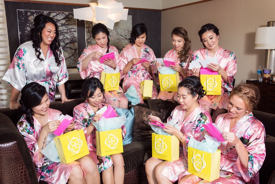 opening of bridesmaids presents
