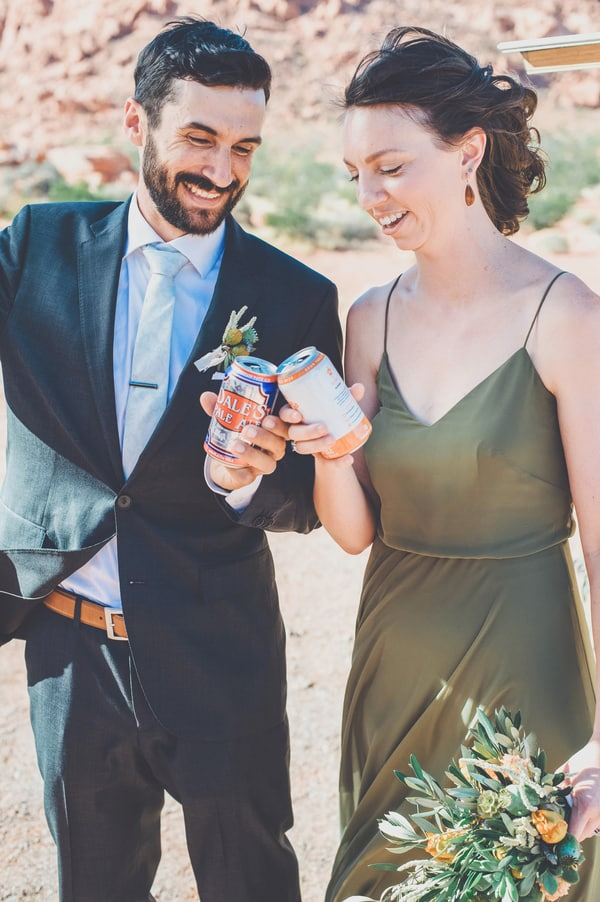 desert wedding with Pizza reception at Valley of Fire