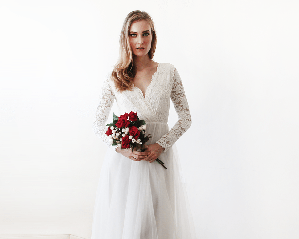 Ivory Tulle and Lace Long Sleeve Wedding Maxi