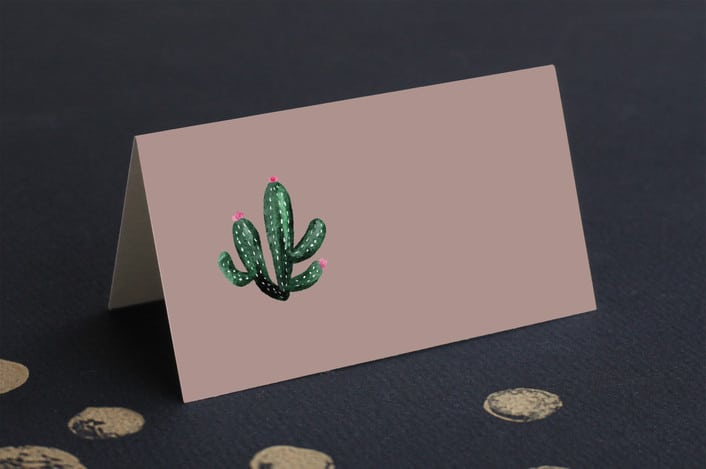 Slate cacti place card fold up
