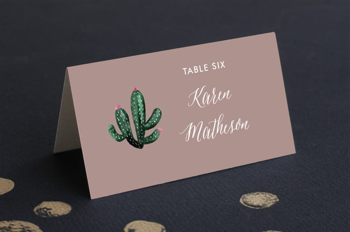 Slate cacti place card