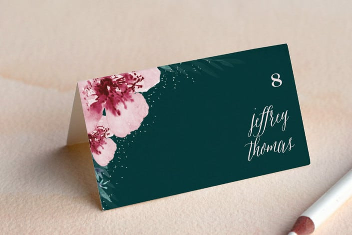 Vivid blooms place card example