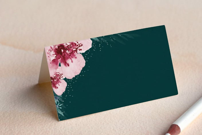 Vivid blooms place card folded