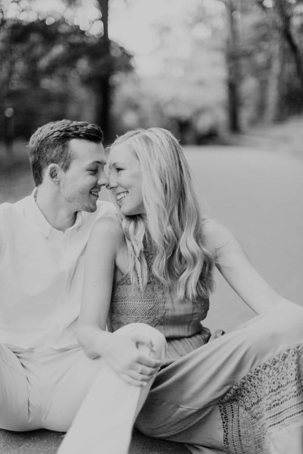 black and white romantic engagement session
