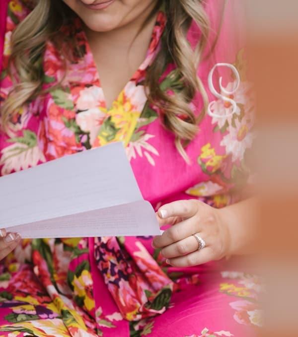 bride reading a love letter