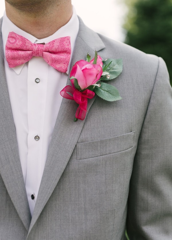bright pink buttonhole