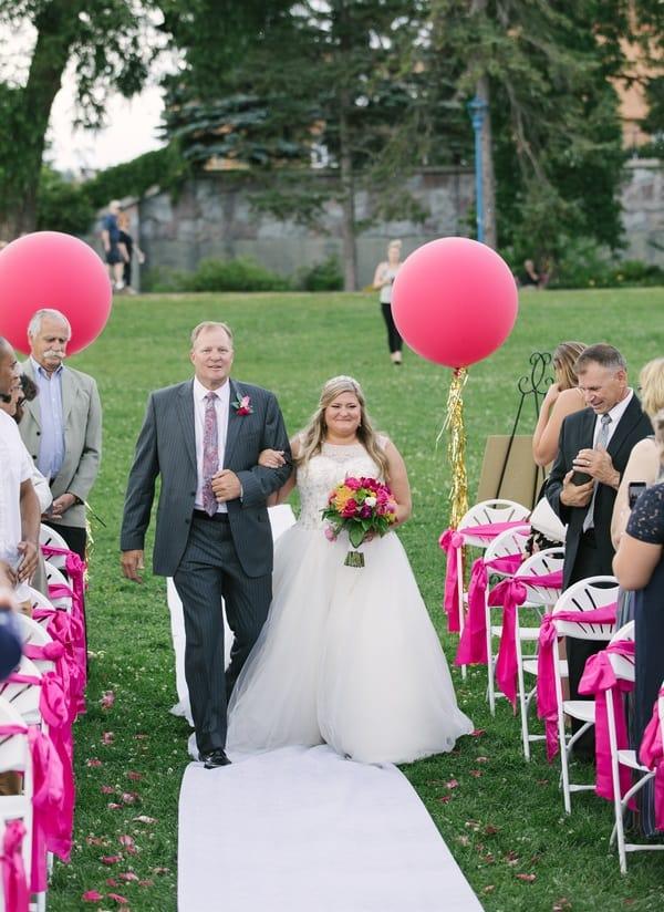 bright pink ceremony decor