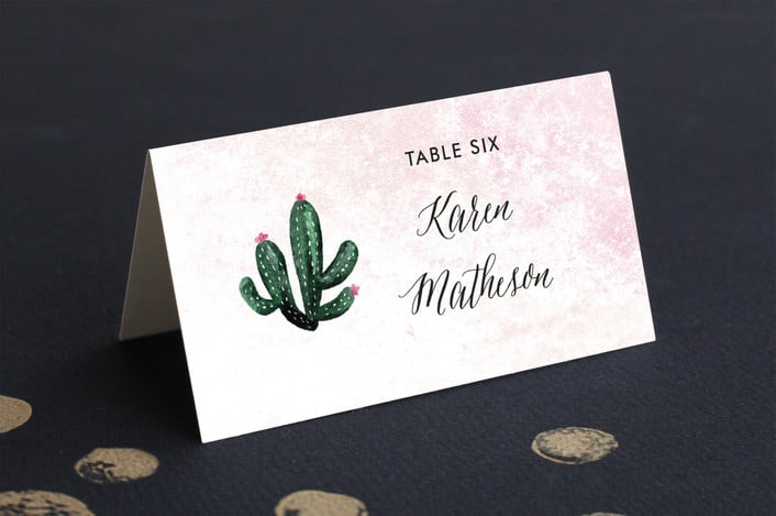 cacti themed place card folded