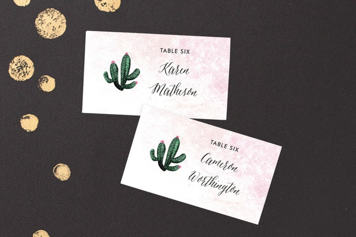 cacti themed place card