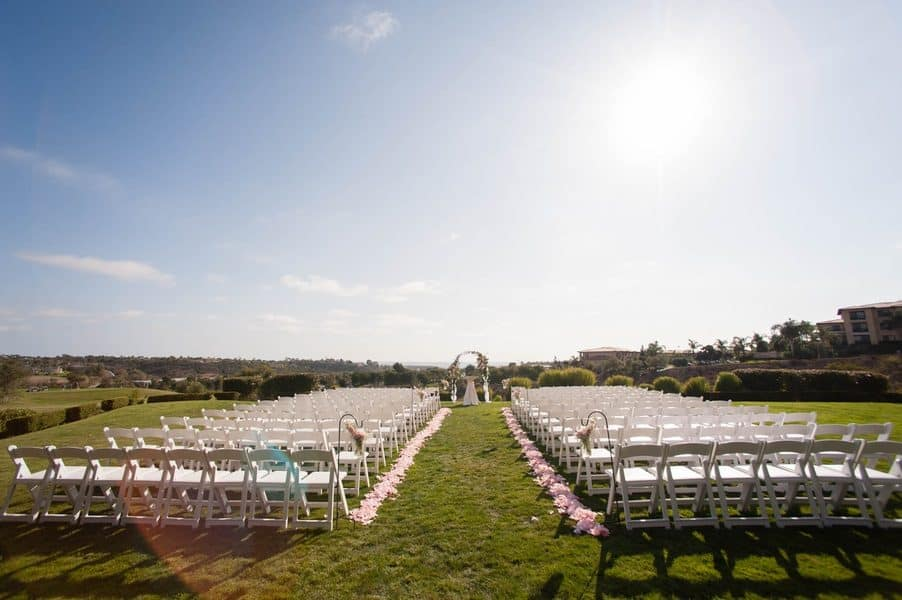 Classic Gold and Pink Golf Course Wedding