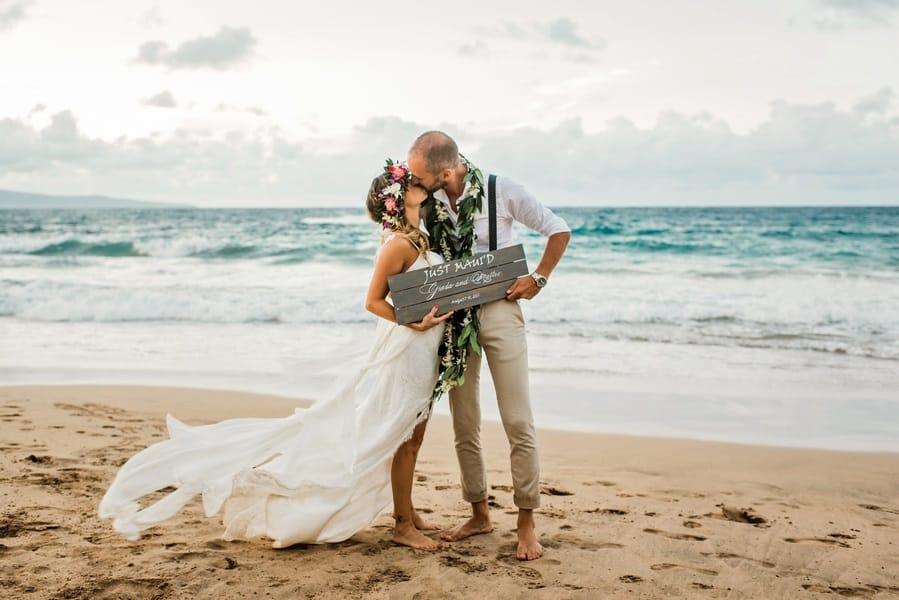 just married hawaiian wedding