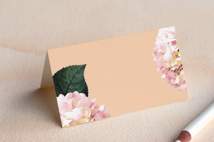 peach peony party place card folded