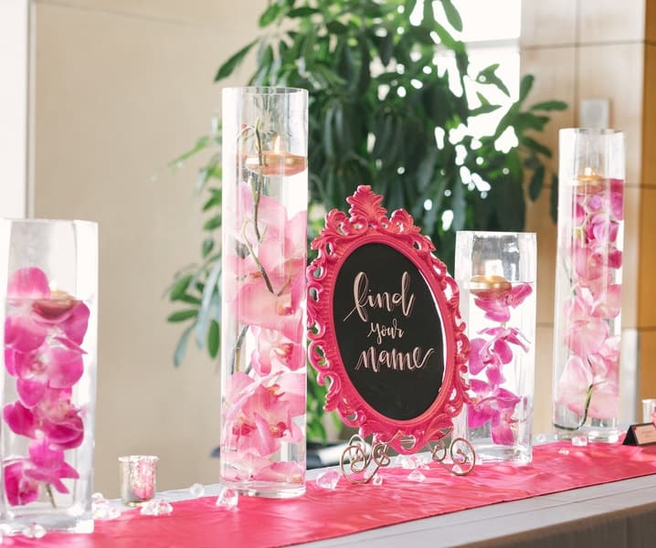 pink floating candle decor