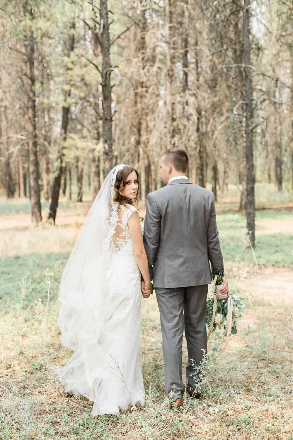 romantic woodland wedding photo