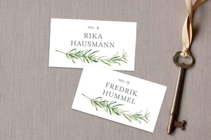 simple sprigs place card