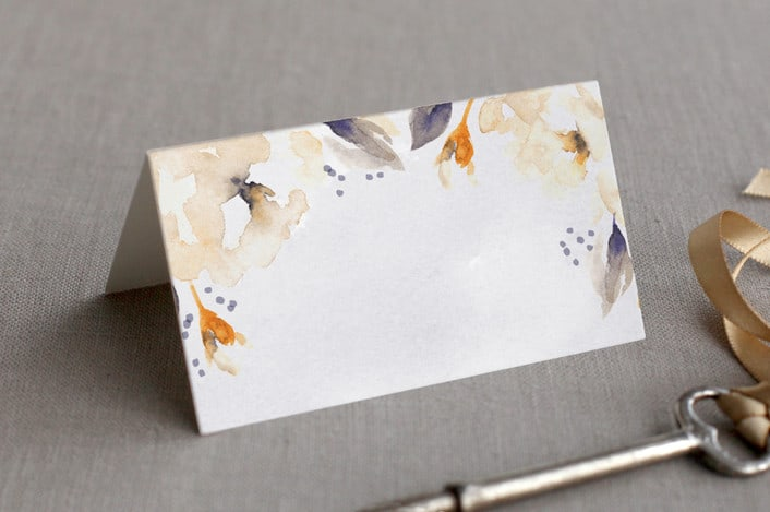 southern garden place card design peach folded