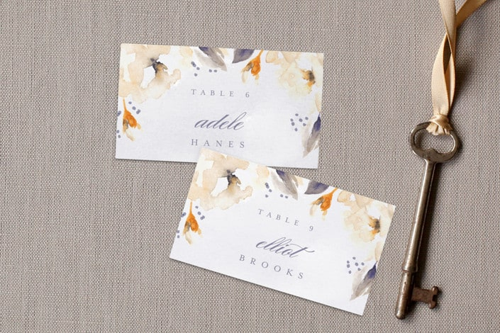 southern garden place card design peach