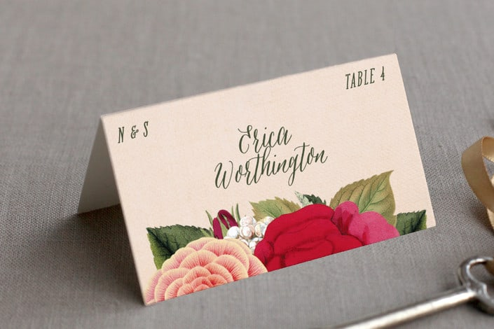 vintage botanicals example place card