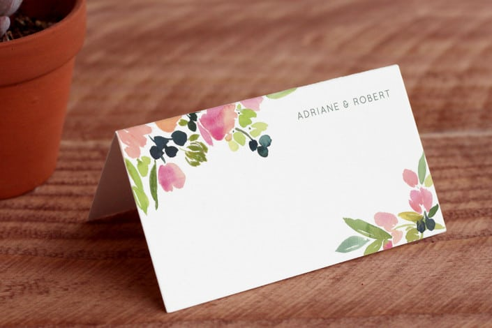 watercolor wreath place cards folded