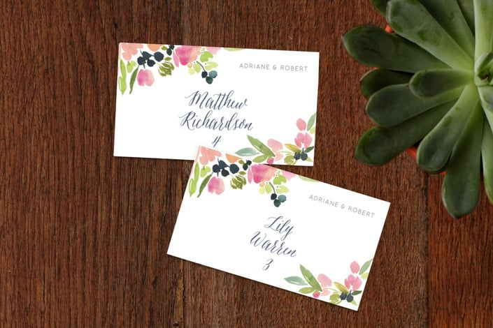 watercolor wreath place cards
