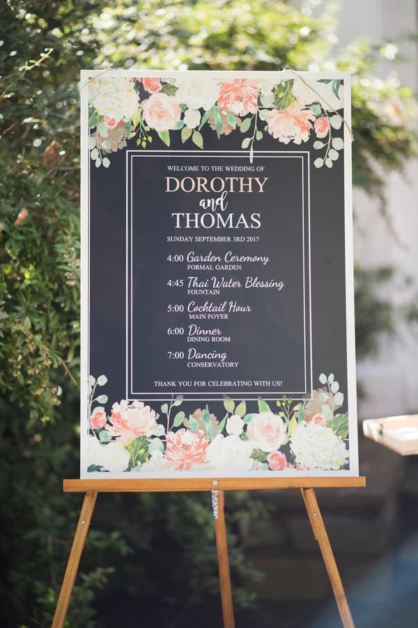 wedding program signage