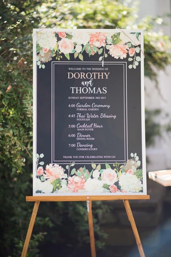 wedding program signage