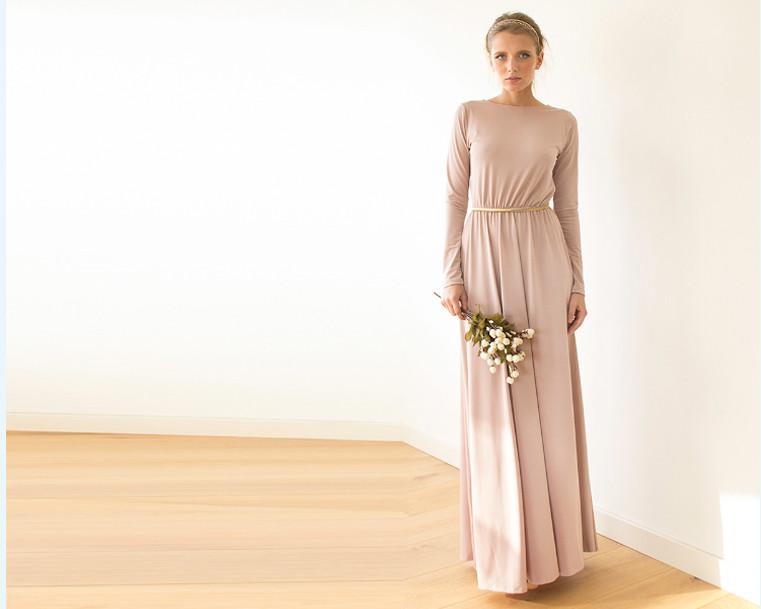 Backless Blush maxi dress with long sleeves