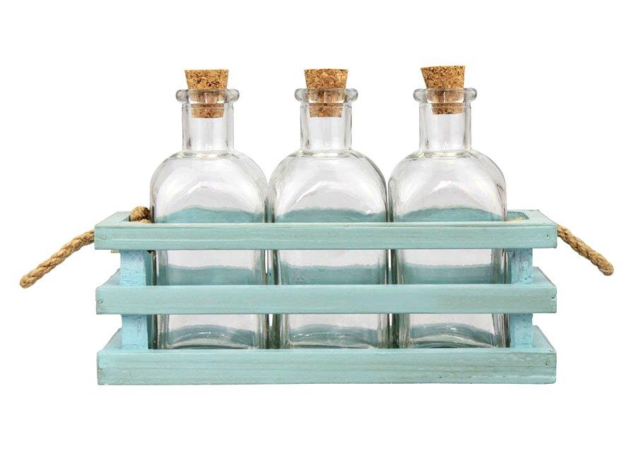 Mini Glass Beach Bottle in Wood Tray & Rope Handles