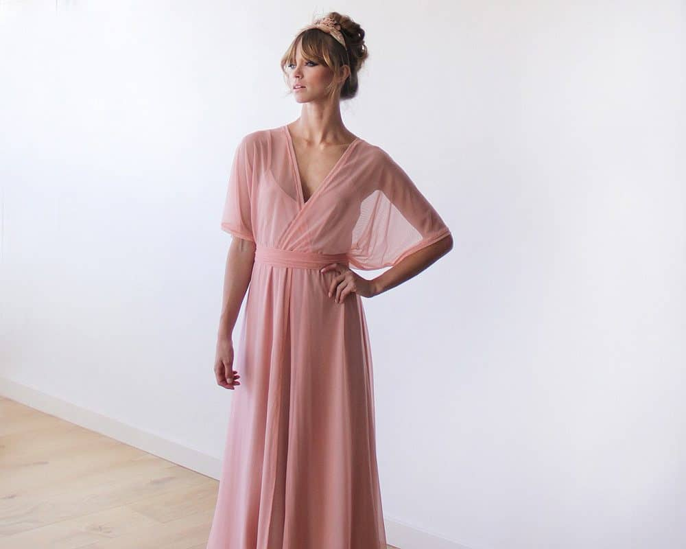 Peach Pink Sheer Chiffon Bat-wing Maxi Dress
